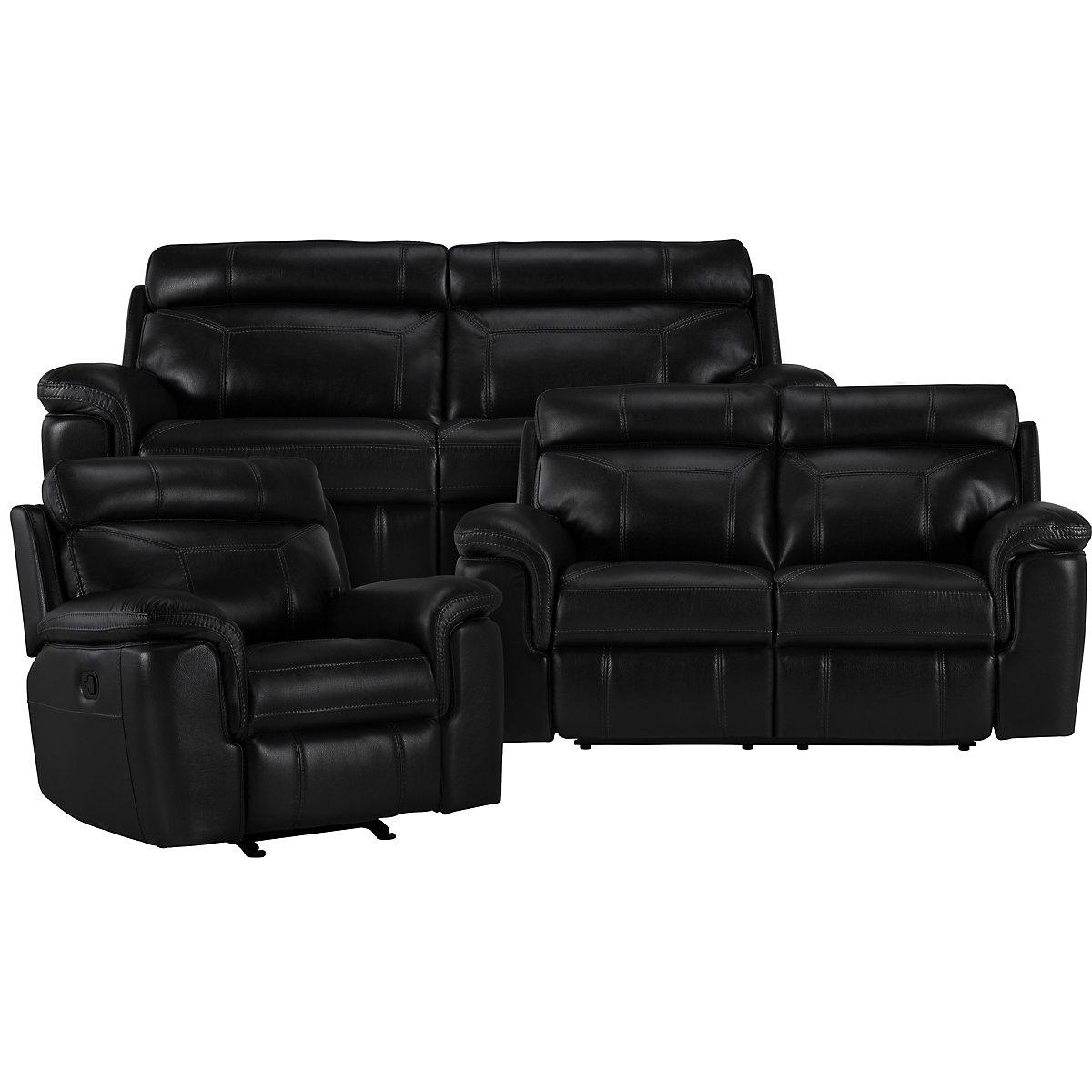 Gamma Black Microfiber Manually Reclining Living Room