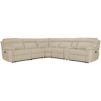 Gamma Beige Microfiber Small Two-Arm Manually Reclining Sectional
