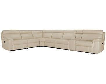 Gamma Beige Microfiber Large Two-Arm Manually Reclining Sectional
