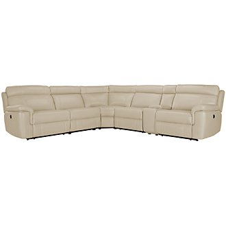 Gamma Beige Microfiber Small Two-Arm Power Reclining Sectional