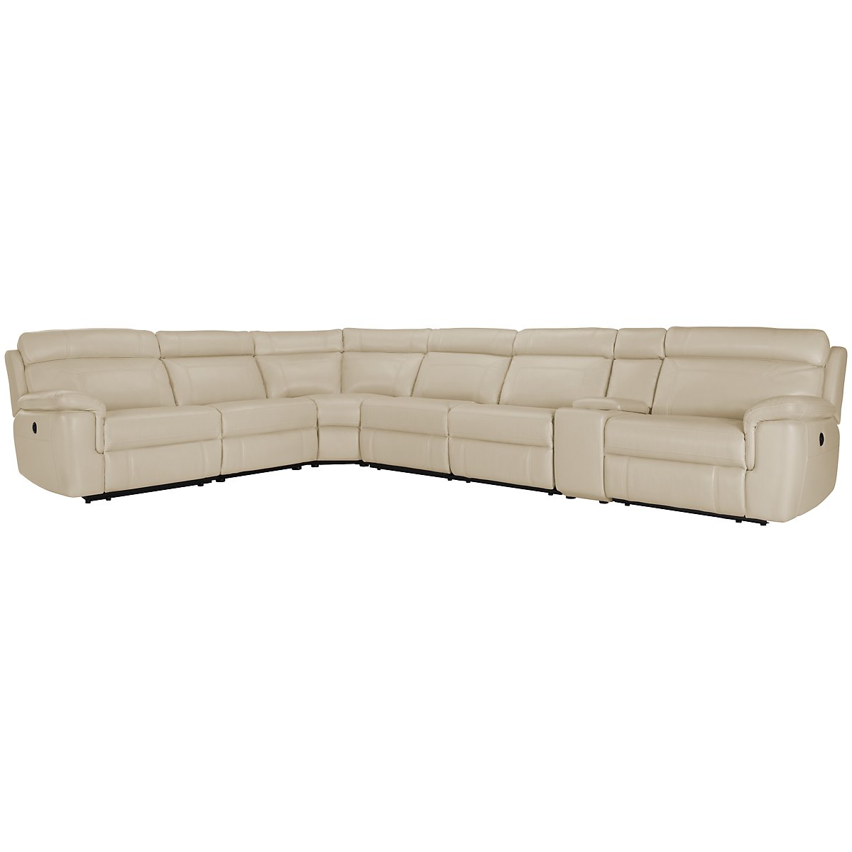 Gamma Beige Microfiber Large Two-Arm Power Reclining Sectional