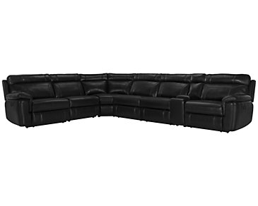 Gamma Black Microfiber Large Two-Arm Manually Reclining Sectional