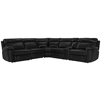 Gamma Black Microfiber Small Two-Arm Power Reclining Sectional