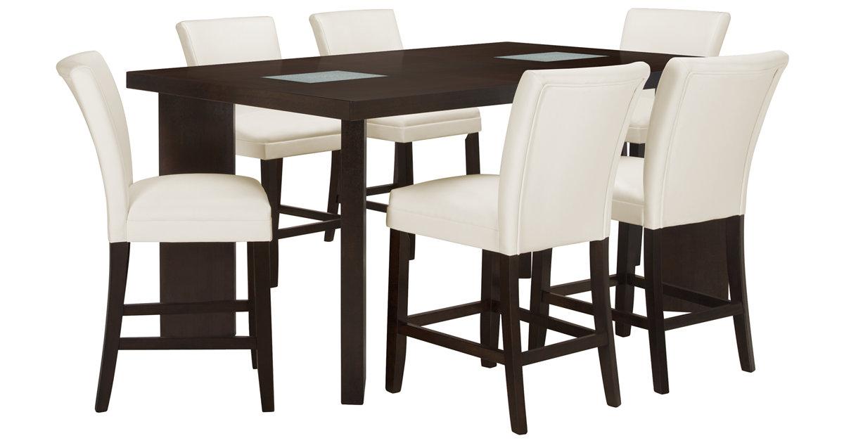 City Furniture Delano2 White High Table 4 Bonded Barstools
