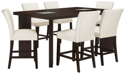 Delano2 White High Table & 4 Bonded Barstools