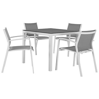"""Lisbon Gray 36"""" Square Table & 4 Chairs"""
