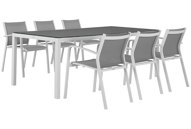 "Lisbon Gray 86"" Rectangular Table & 4 Chairs"