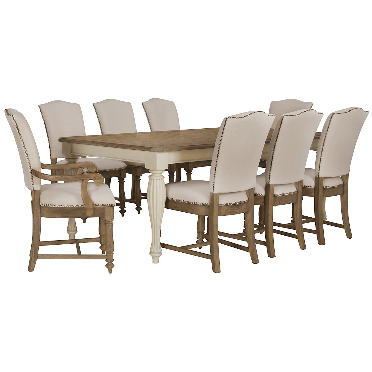 Coventry Two-Tone Rectangular Table & 4 Upholstered Chairs