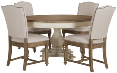 Round Table With Chairs Part - 45: Coventry Two-Tone Round Table U0026 4 Upholstered Chairs