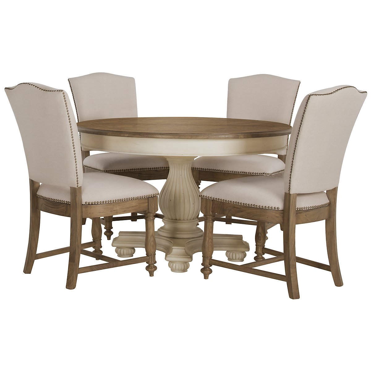 City furniture coventry two tone round table 4 for Dining room tables 0 finance