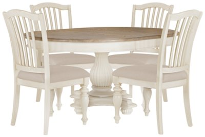 Coventry Two-Tone Round Table & 4 Wood Chairs
