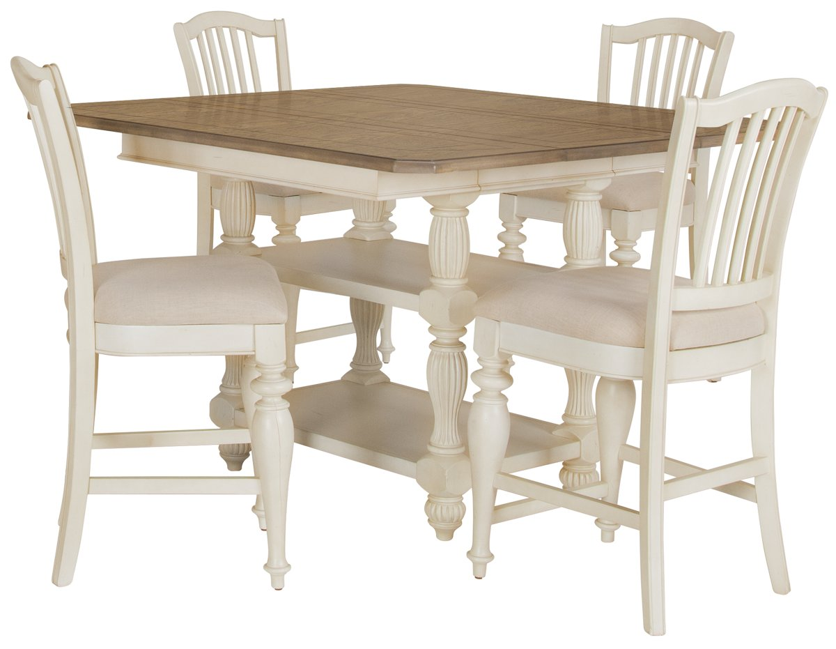 Coventry Two-Tone High Table & 4 Wood Barstools