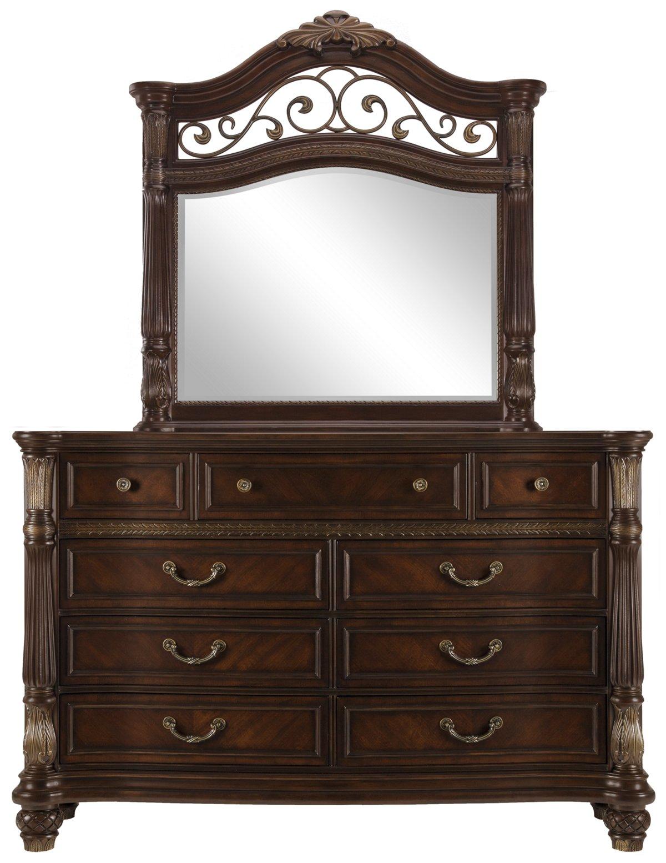 Tradewinds Dark Tone Metal Dresser & Mirror