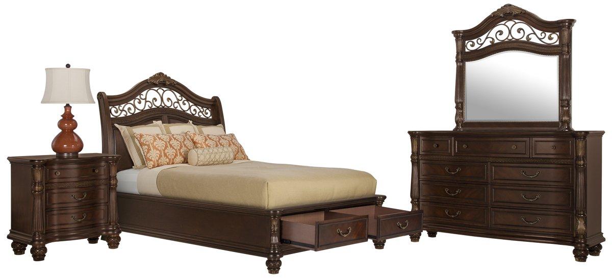 Tradewinds Dark Tone Wood Platform Storage Bedroom