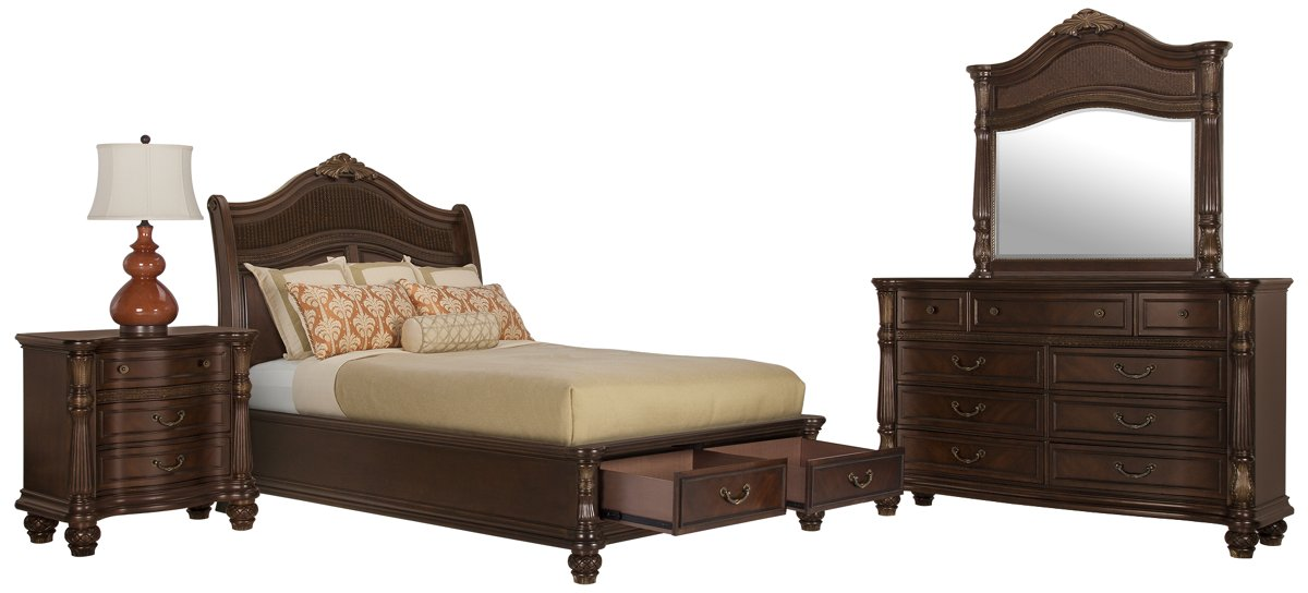 Tradewinds Dark Tone Woven Platform Storage Bedroom