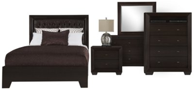 Adele2 Dark Tone Bonded Leather Platform Bedroom Package