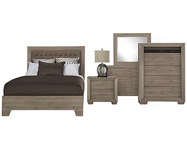 Adele2 Light Tone Bonded Leather Platform Bedroom Package