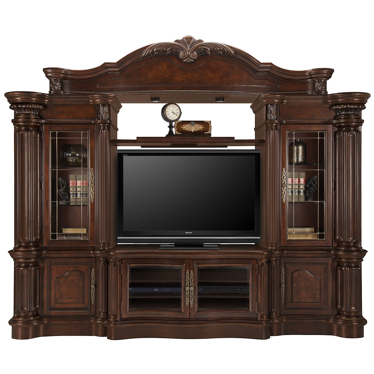 Regal3 Dark Tone Wood Entertainment Wall