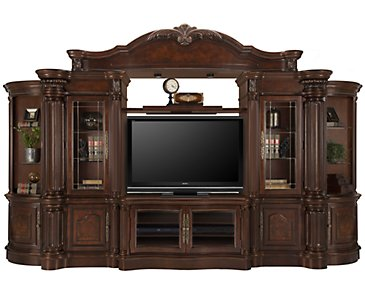 Regal3 Dark Tone Small Entertainment Wall with Corners