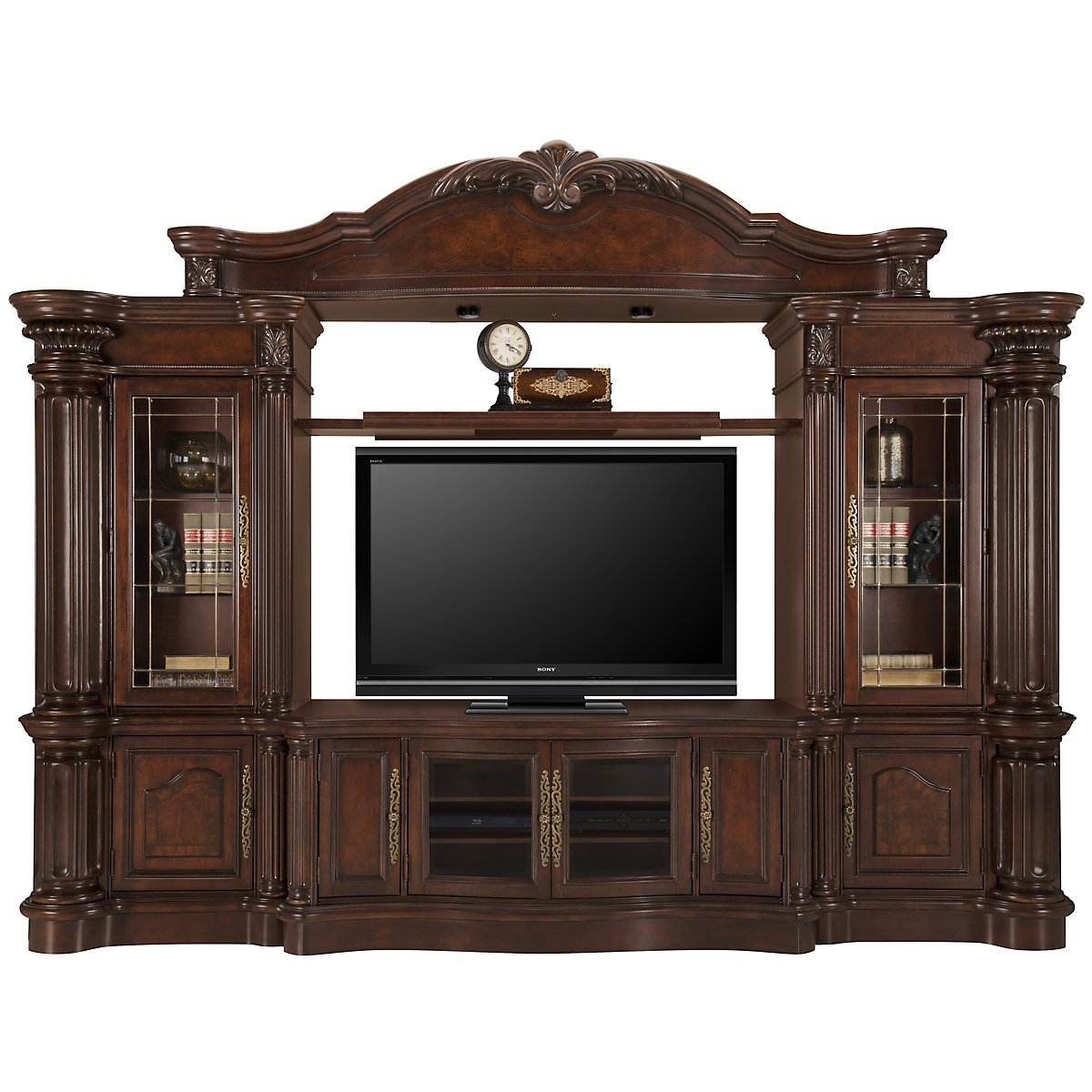 Regal3 Dark Tone Wood Large Entertainment Wall