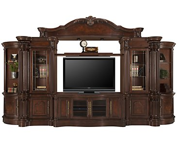 Regal3 Dark Tone Large Entertainment Wall with Corners