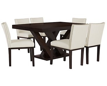 Tiffany White Rectangular Table & 4 Bonded Chairs