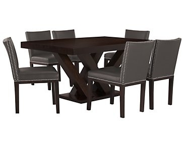 Tiffany Dark Gray Rectangular Table & 4 Bonded Chairs
