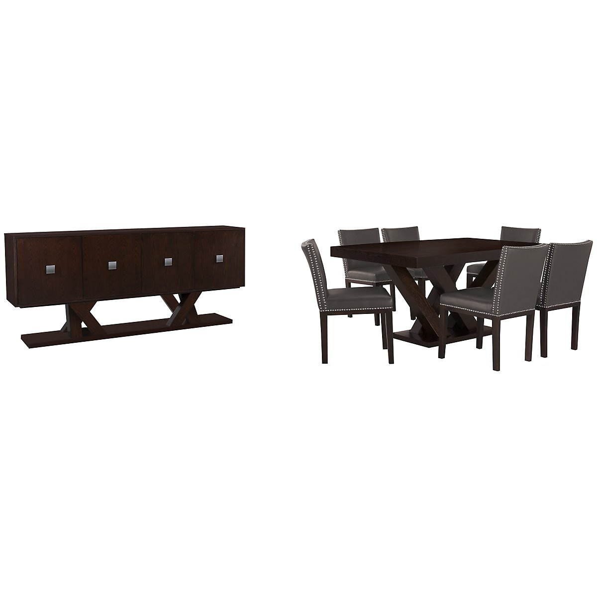 Tiffany Dark Gray Rectangular Dining Room