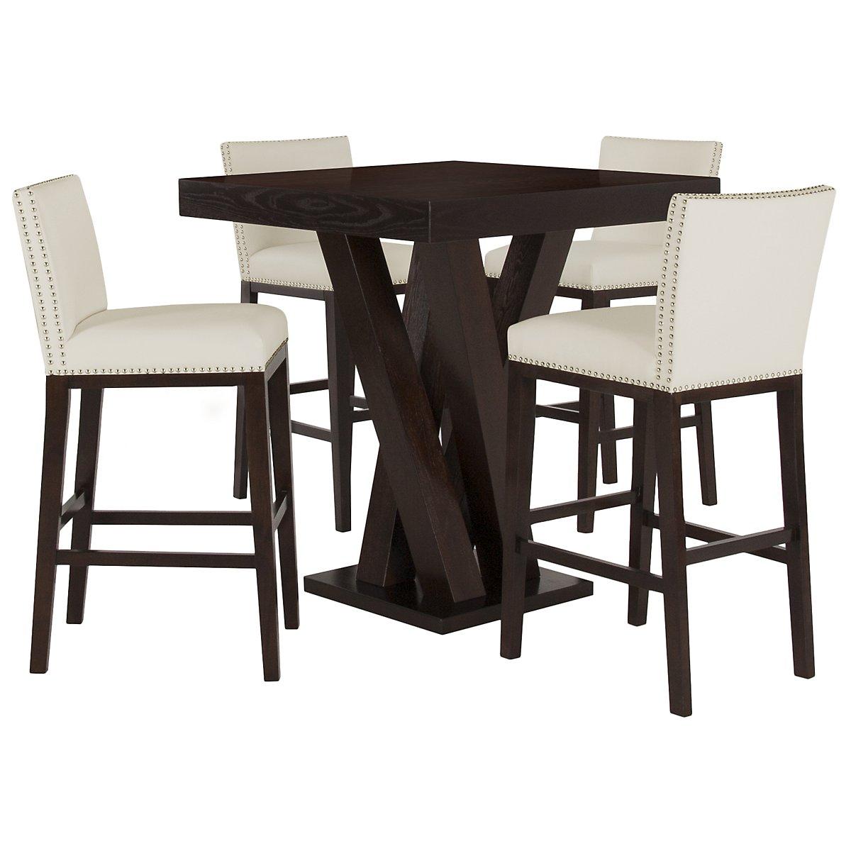 Tiffany White Pub Table & 2 Bonded Barstools