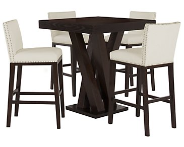 Tiffany White Pub Table & 2 Bonded Barstools