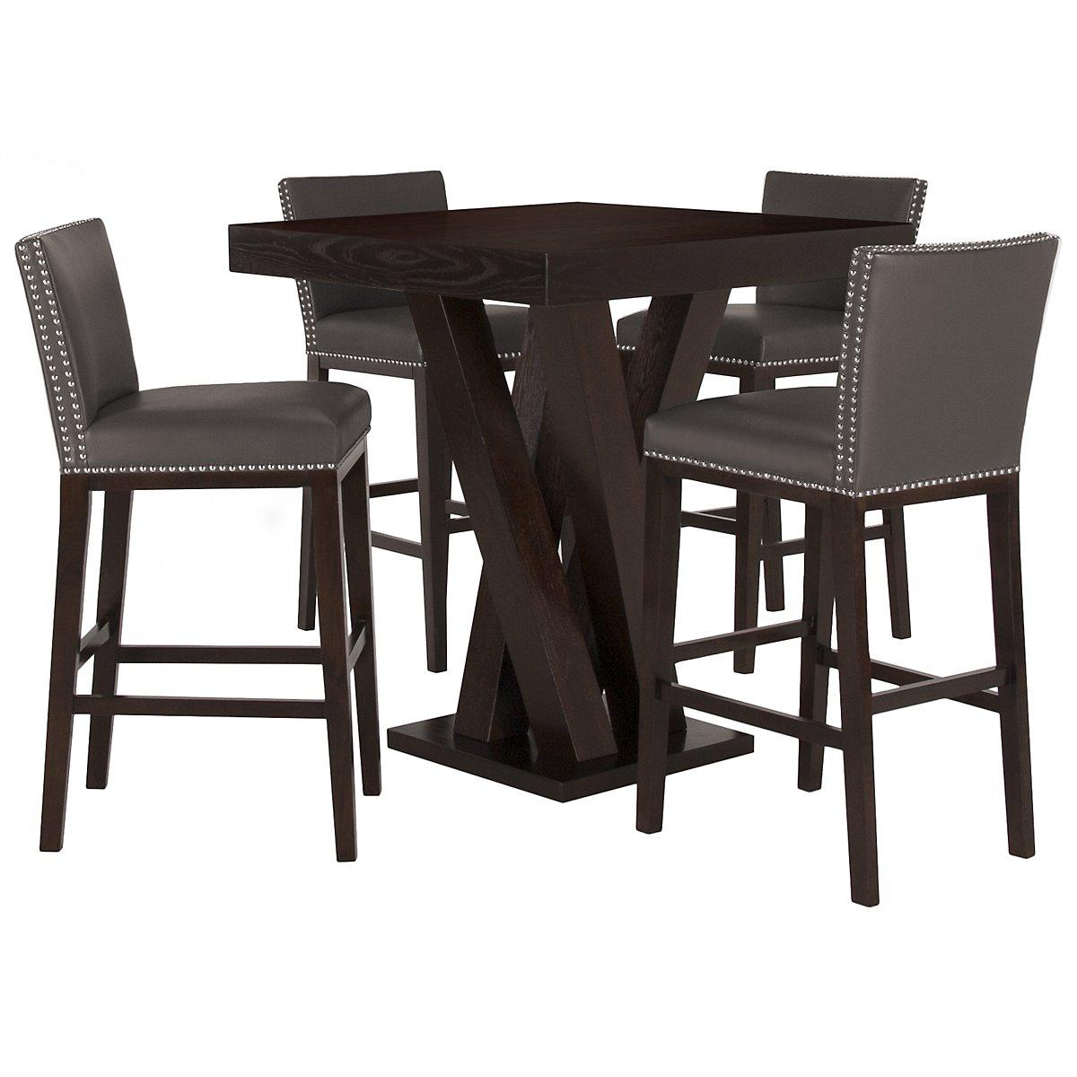 Tiffany Dark Gray Pub Table & 2 Bonded Barstools