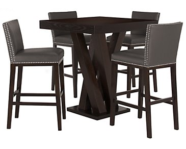 Tiffany Dark Gray Pub Table & 2 Bonded Barstools
