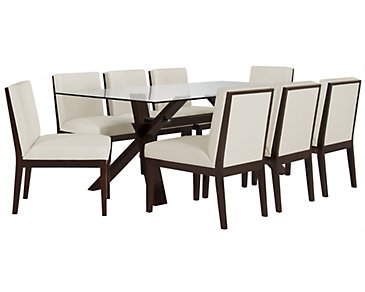 "Emma White 83"" Table & 4 Bonded Chairs"