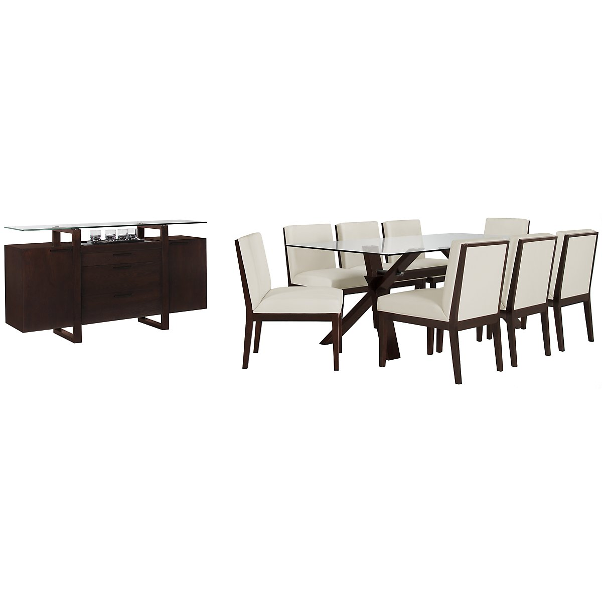 "Emma White Glass 83"" Dining Room"