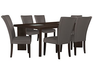 Delano2 Dark Gray Rectangular Table & 4 Bonded Chairs