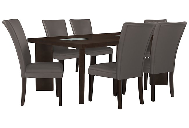 Delano2 Dark Gray Rect Table & 4 Bonded Chairs