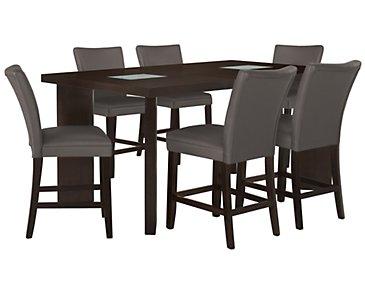 Delano2 Dark Gray High Table & 4 Bonded Barstools