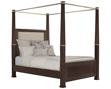 Canyon Dark Tone Upholstered Canopy Bed
