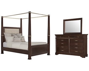 Canyon Dark Tone Upholstered Canopy Bedroom
