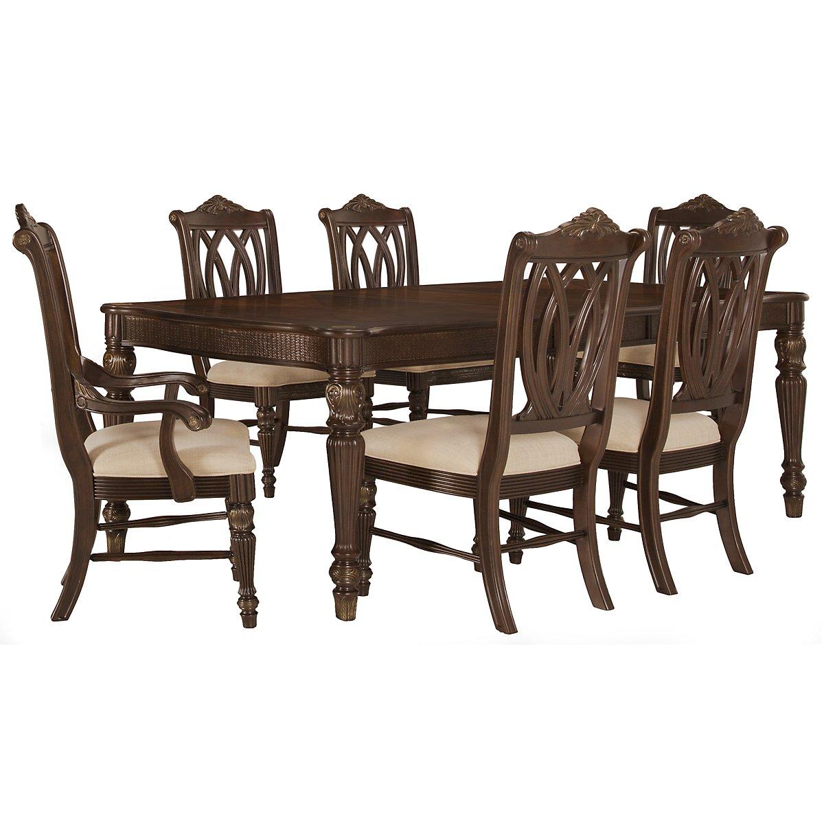 Tradewinds Dark Tone Rectangular Table & 4 Wood Chairs