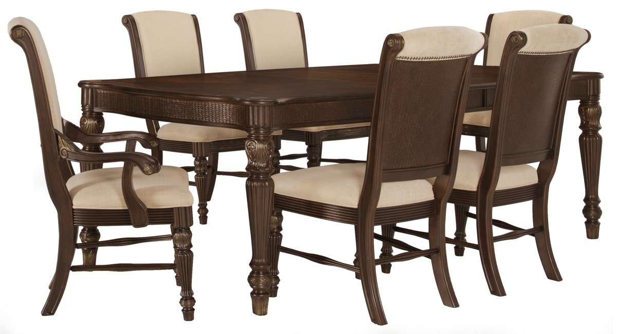 Tradewinds Dark Tone Rect Table & 4 Upholstered Chairs
