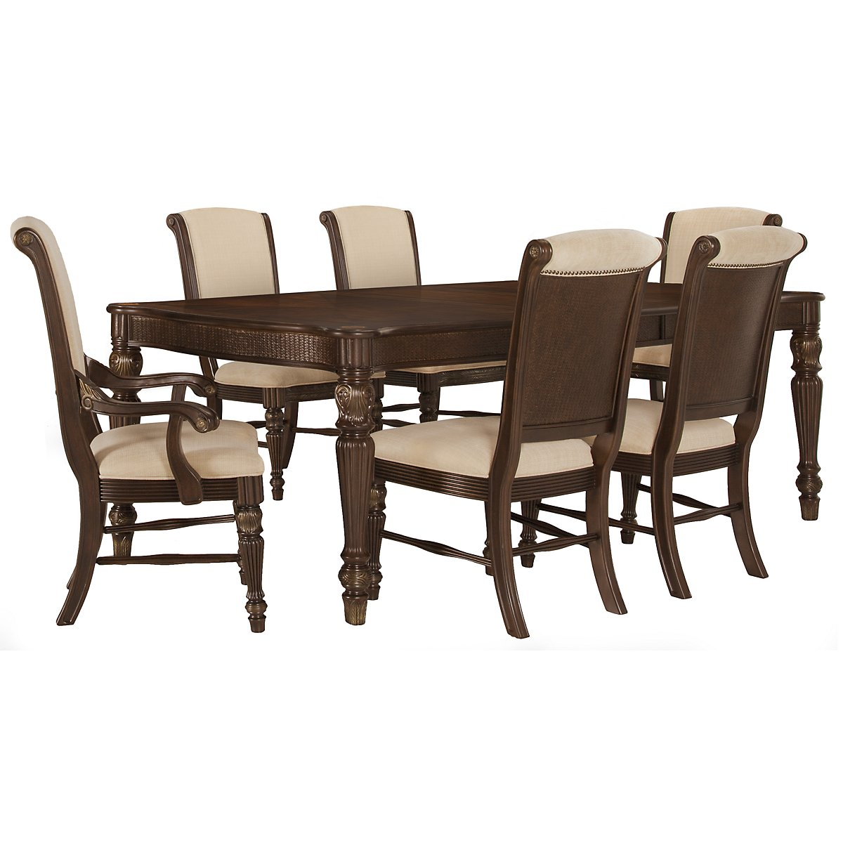 Tradewinds Dark Tone Rectangular Table & 4 Upholstered Chairs