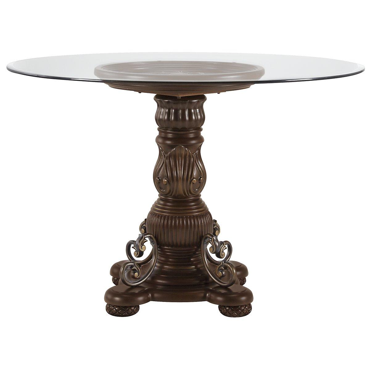 Tradewinds Dark Tone Glass Round High/Low Table