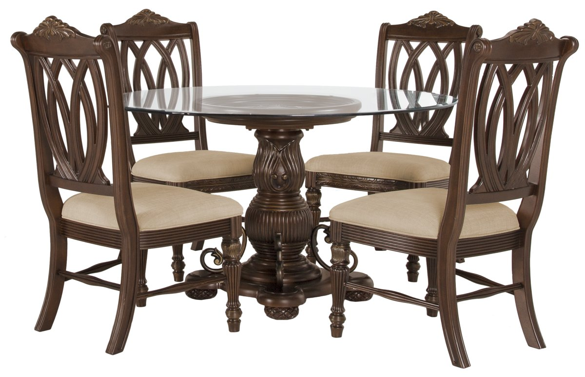Tradewinds Dark Tone Glass Table & 4 Wood Chairs