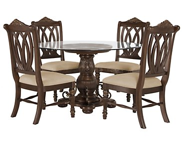 Tradewinds Dark Tone Glass Table & 4 Wood Chairs