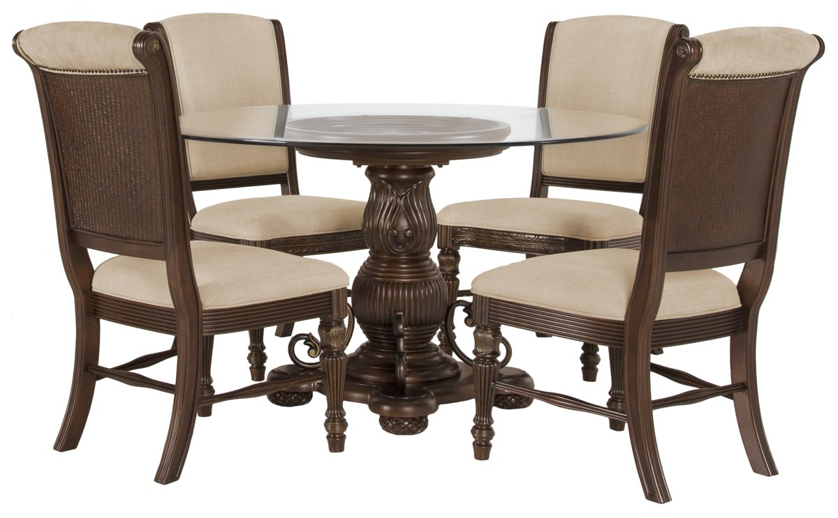 Tradewinds Dark Tone Glass Table & 4 Upholstered Chairs