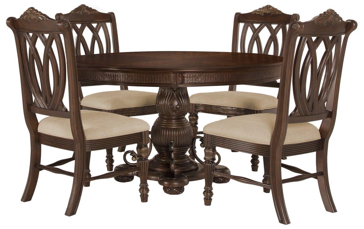 Tradewinds Dark Tone Round Table & 4 Wood Chairs