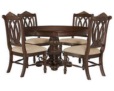Tradewinds Dark Tone Round Table & 4 Wood Chairs