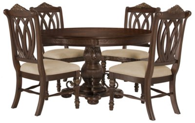 Tradewinds Dark Tone Round Table U0026 4 Wood Chairs