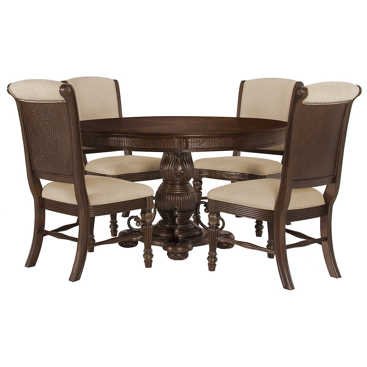 Tradewinds Dark Tone Wood Table & 4 Upholstered Chairs